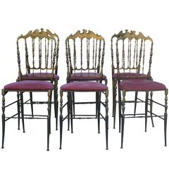 20th Century a Set of Six Chiavari Modernist Brass Chairs