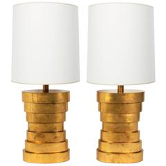 Large-Scale Gold Leafed Stacked Lamps