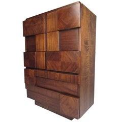 Lane Altivista Brutalist Highboy Dresser