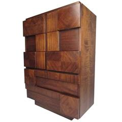 Lane Altivista Brutalist Highboy Dresser