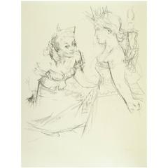 "Jack Levine Original Lithograph, 1967, ""Marianne and the Goddess of Liberty"""