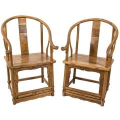 Pale Wood Chinese Armchairs