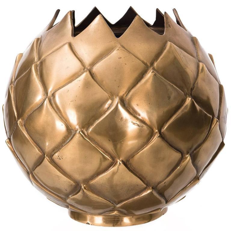 Large Brass Pineapple Vase