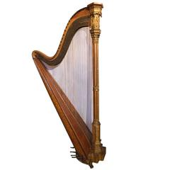Erard Antique French Gothic Revival Style Parcel-Gilt Harp