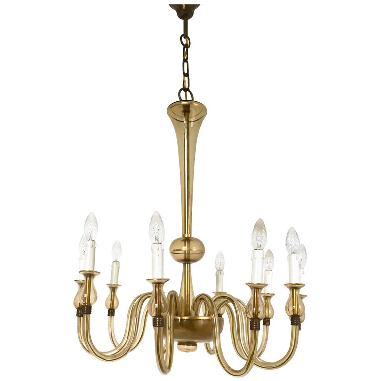 Vintage Murano Glass Chandelier, Italy, 1940s For Sale
