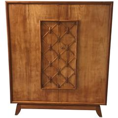 1930s Jean Royere-Style Maple Lattice Linen Press