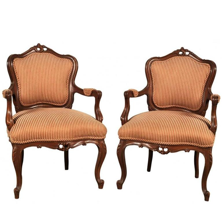 Pair of Antique Rococo Armchairs