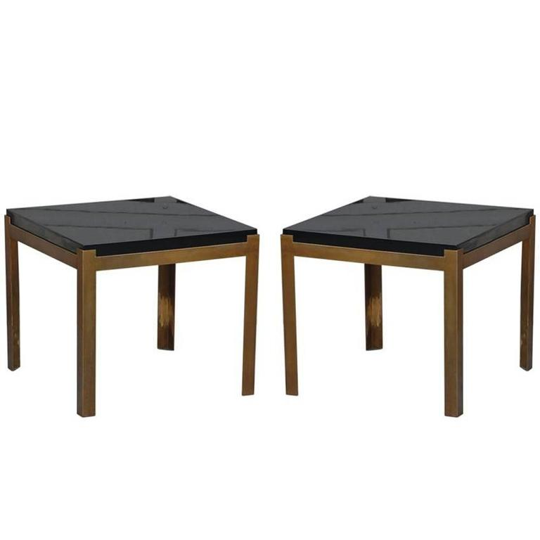 Pair of 'Caisson' Lacquer and Patinated Brass Side Tables by Design Frères For Sale