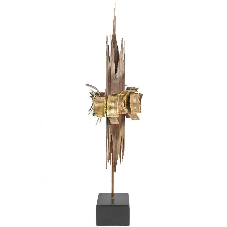 Brutalist Brass Sculpture by C. Jere Signed and Dated 1967