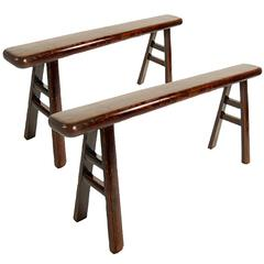 Pair of Chinese Narrow Benches with Tapered Legs