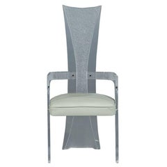 High Back Frosted Lucite Armchair