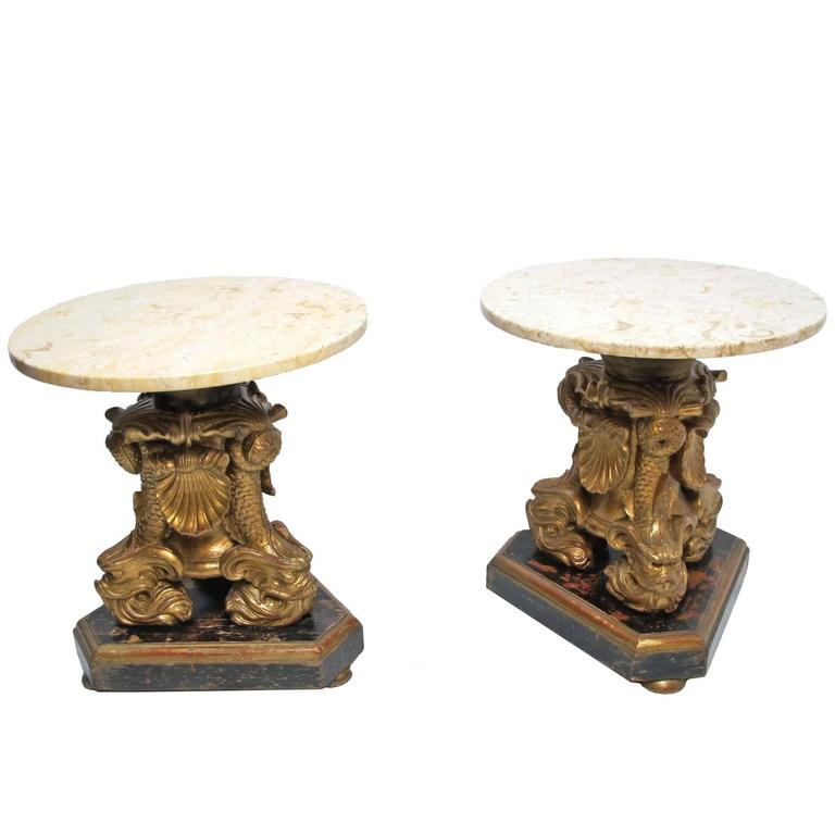 19th Century Italian Giltwood Side Tables 1