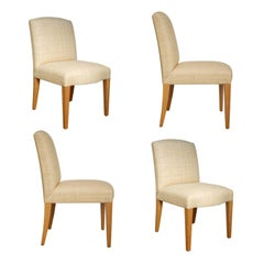 Donghia Woven Grasscloth, Custom Plaza Chairs, Set of Four