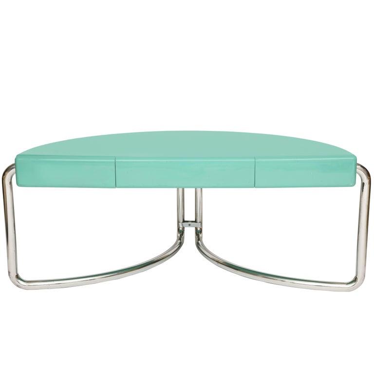 Italian Chrome Lacquer Green Desk 1970s, Mid-Century