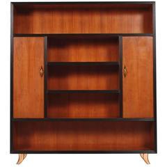 Mid-Century Modern Bookcase Cabinet Cherry Wood by Guglielmo Urlich for Arca-Mi