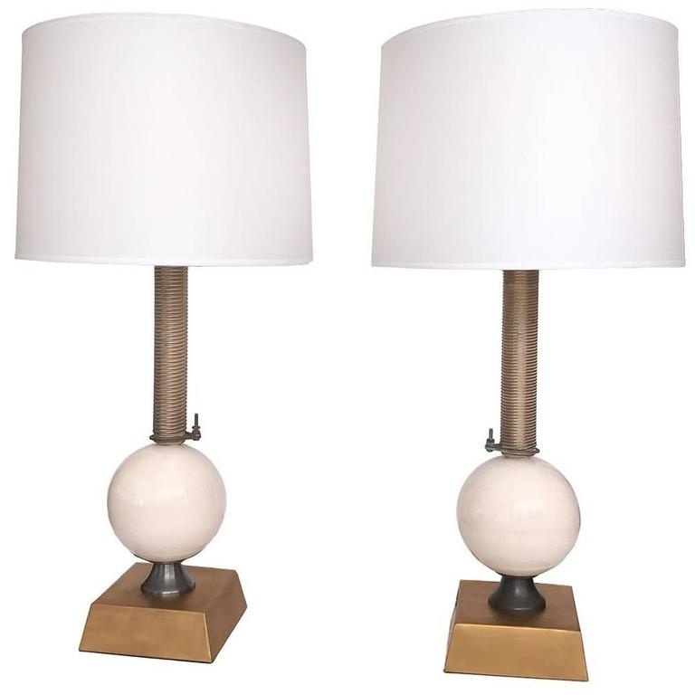 Pair of American Industrial Style Metal and Porcelain Lamps by Jim Misner 1