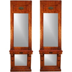 Pair of Massive Antique Danish Biedermeier Pier Console Mirrors