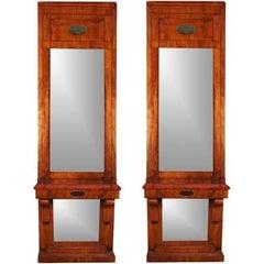 Pair of Massive Antique Danish Biedermeier Pier Console Mirrors