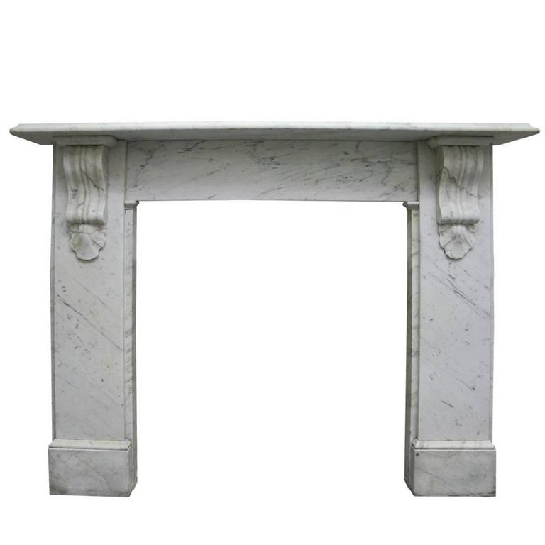 Reclaimed Victorian Carrara Marble Fireplace Surround For Sale at