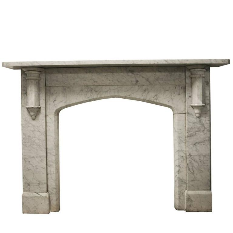 Antique Reclaimed Victorian Carrara Marble Fireplace Surround