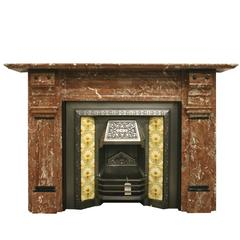 Substantial Victorian Rouge Marble Fireplace Surround