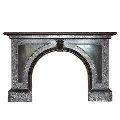 Large Late Victorian St Anne Marble Fire Surround with an Arched Aperture