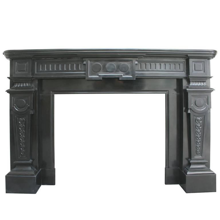 Antique 19th Century Continental Black Marble Fire Surround For Sale