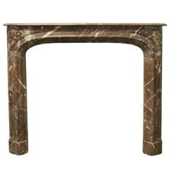 Antique 19th Century Rouge Louis XV Style Marble Fireplace Surround