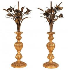 Pair of Italian Tole Wheat Shaft and Carved Wood Lamps