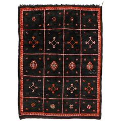 Vintage Moroccan Rug, Black Moroccan Area Rug with Tribal Style