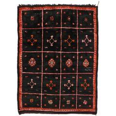 Vintage Berber Moroccan Rug with Modern Tribal Style, Black Moroccan Rug