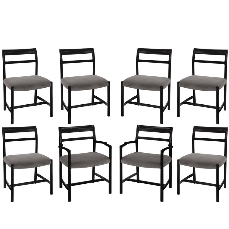 Roger Sprunger Set of Eight Dining Chairs, 1967 For Sale