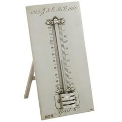 Antique Edwardian Sterling Silver Desk Thermometer