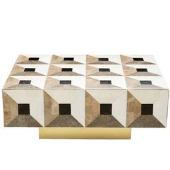 Moonlight Kaleidoscope Coffee Table in Marble Marquetry Smaller Version