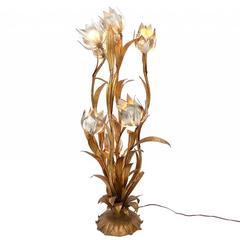 Hollywood Regency Gilt Floral Floor Lamp