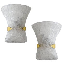 Exceptionnal Pair 60s MidCentury Bow-Tie Murano Glass Brass  Sconces Wall Lights