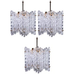 Carl Fagerlund for Orrefors Clear Textured Crystal Chandeliers, 1950s