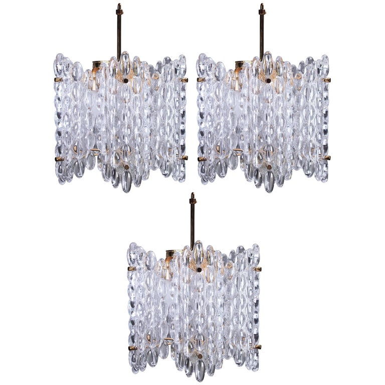 Large Carl Fagerlund for Orrefors Mid Century Clear Crystal Chandeliers, 1950s For Sale