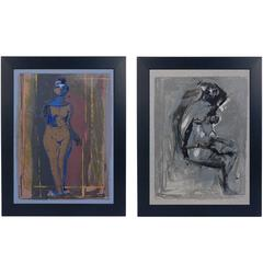 Pair of Marino Marini Nudes Lithographs