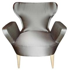 Silk Tulip Armchair, France, Mid 20th Century