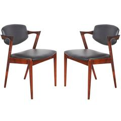 Kai Kristiansen Black Leather Dining Chairs - Pair