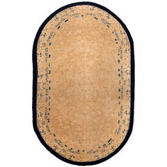 Large Oval Fine Antique Chinese Carpet