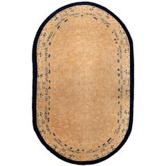 Large Oval Vintage Chinese Carpet