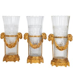 Set of Three Antique French Hand Diamond Cut Crystal and Doré Bronze Vases