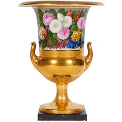 Antique Neoclassical, Empire Period, Berlin-KPM Gold Ground Campana Vase