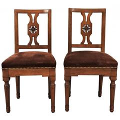 Pair of Antique Suede Side Chairs