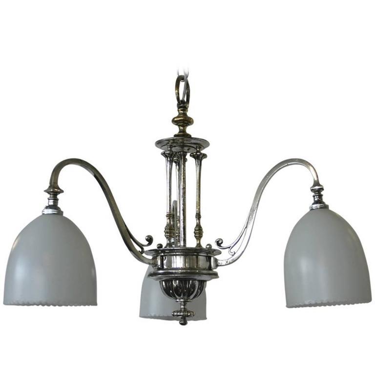 Very Elegant Edwardian Chrome-Plated Three Branch Ceiling Light