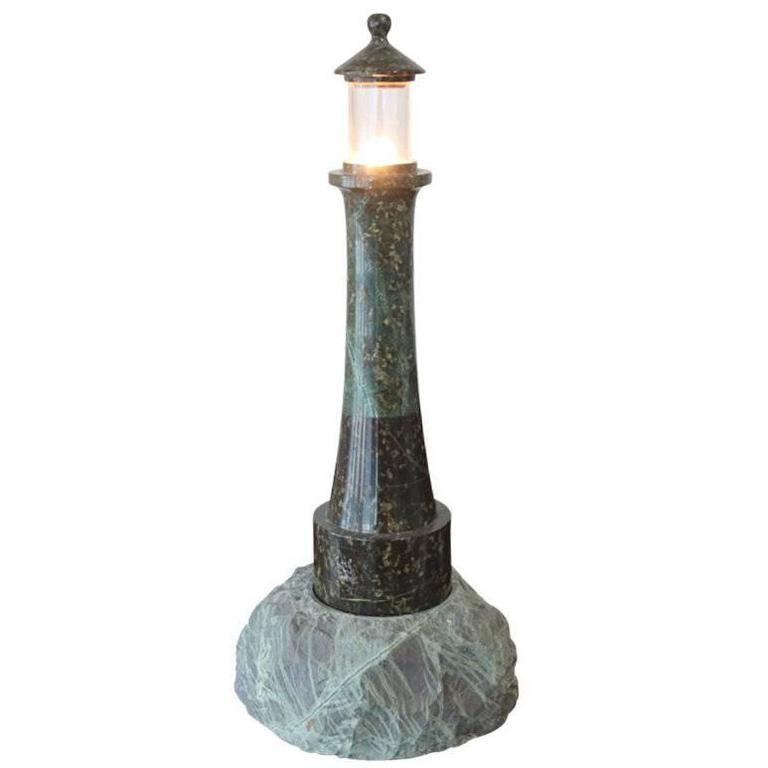 Tall Mid-20th Century Cornish Granite Lighthouse Lamp