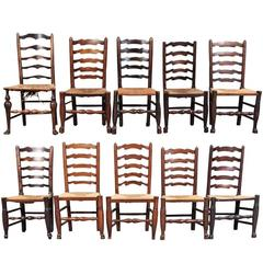 Group of Ten Compatible English Rush Seat Ladder Back Chairs