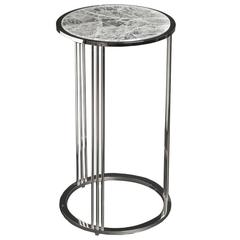 Tall Hyaline Quartz Round Side Table